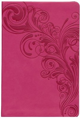 KJV Pink Large Print Personal Size Reference Bible with Engraved Floral Design