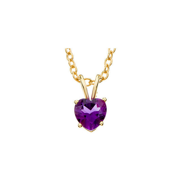 "14kt Yellow 6mm Amethyst Heart 18"" Necklace"