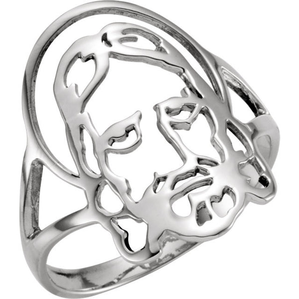 Sterling Silver Face of Jesus Purity Ring-Size 7 ONLY