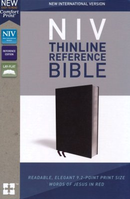 NIV Thinline Reference Bonded Leather Bible - Black