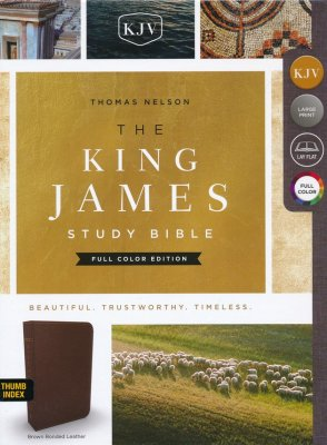 KJV Study Bible Full-Color Edition, Bonded Leather, Brown, Indexed