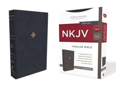 NKJV Comfort Print Thinline Bible Soft Leather-Look Navy Blue Limited Quantities