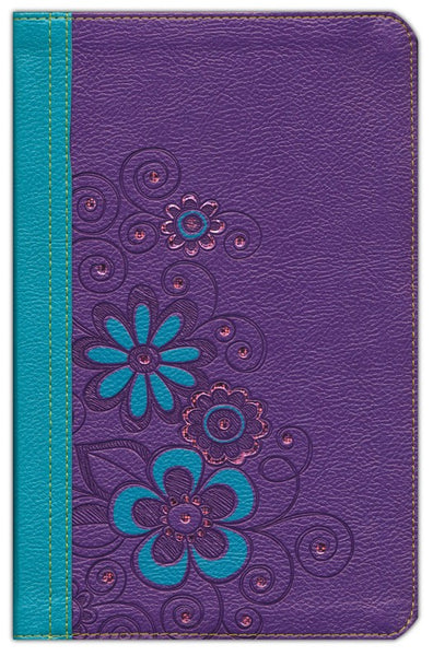 NLT Girls Life Application Study Bible LeatherLike, Purple/Teal Flower