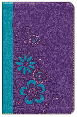 NLT Girls Life Application Personalized Study Bible LeatherLike, Purple/Teal Flower