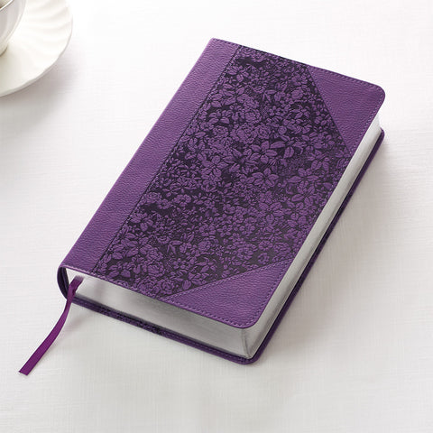 Holy Bible KJV Giant Print Purple Floral