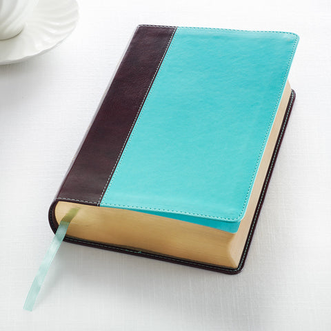 KJV Giant Print Bible Lux-Leather Teal/Brown