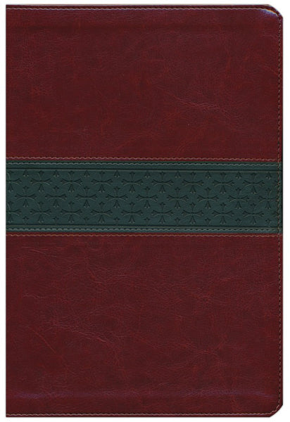 ESV Large-Print Thinline Reference Bible walnut/slate with cross band design