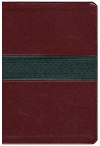 ESV Large Print Thinline Reference Bible walnut/slate with cross band design