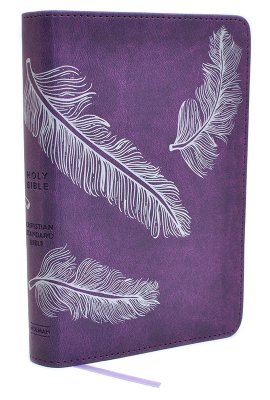 CSB Compact Ultrathin Bible For Teens-Plum Feathers LeatherTouch