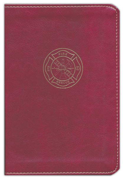 CSB Firefighter's Compact Bible, Burgundy LeatherTouch