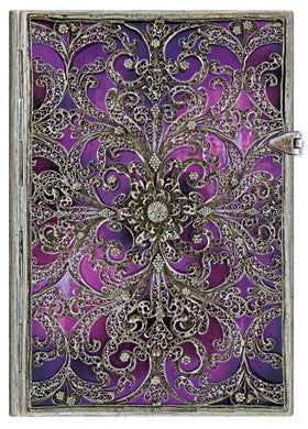 Silver Filigree Lined Journal Choice of Aubergine Purple or Esmeralda Green