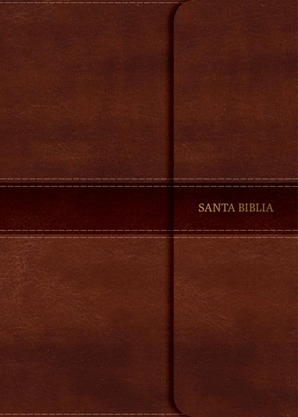 Spanish RVR 1960 Large-Print Personal Size Bible-Soft Leather-Look Brown with Magnetic Flap Indexed