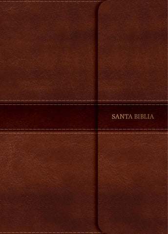 Spanish RVR 1960 Super Giant-Print Personal Size Bible-Soft Leather-Look Brown with Magnetic Flap Indexded