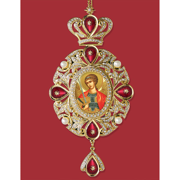 "Saint Michael Russian Icon - Panagia Style Icon Ornament - Enameled Decorated With Faux Peals and Crystals 7 3/4"" With Chain 10 3/4"""