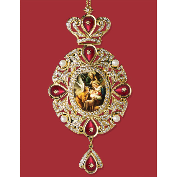 "Nativity of Christ - Panagia Style Icon Ornament - Enameled Decorated With Faux Peals and Crystals 7 3/4"" With Chain 10 3/4"""