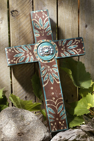 Rustic Chocolate Brown Concho Cross with Turquoise