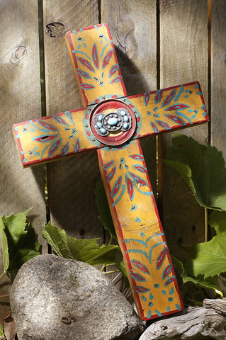 Rustic Gold Concho Cross with Turquoise