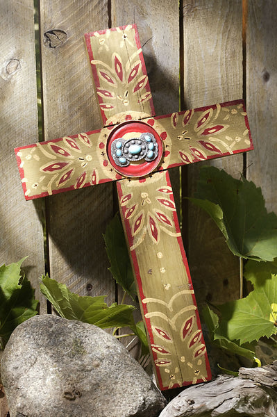 Rustic Olive Concho Cross with Turquoise