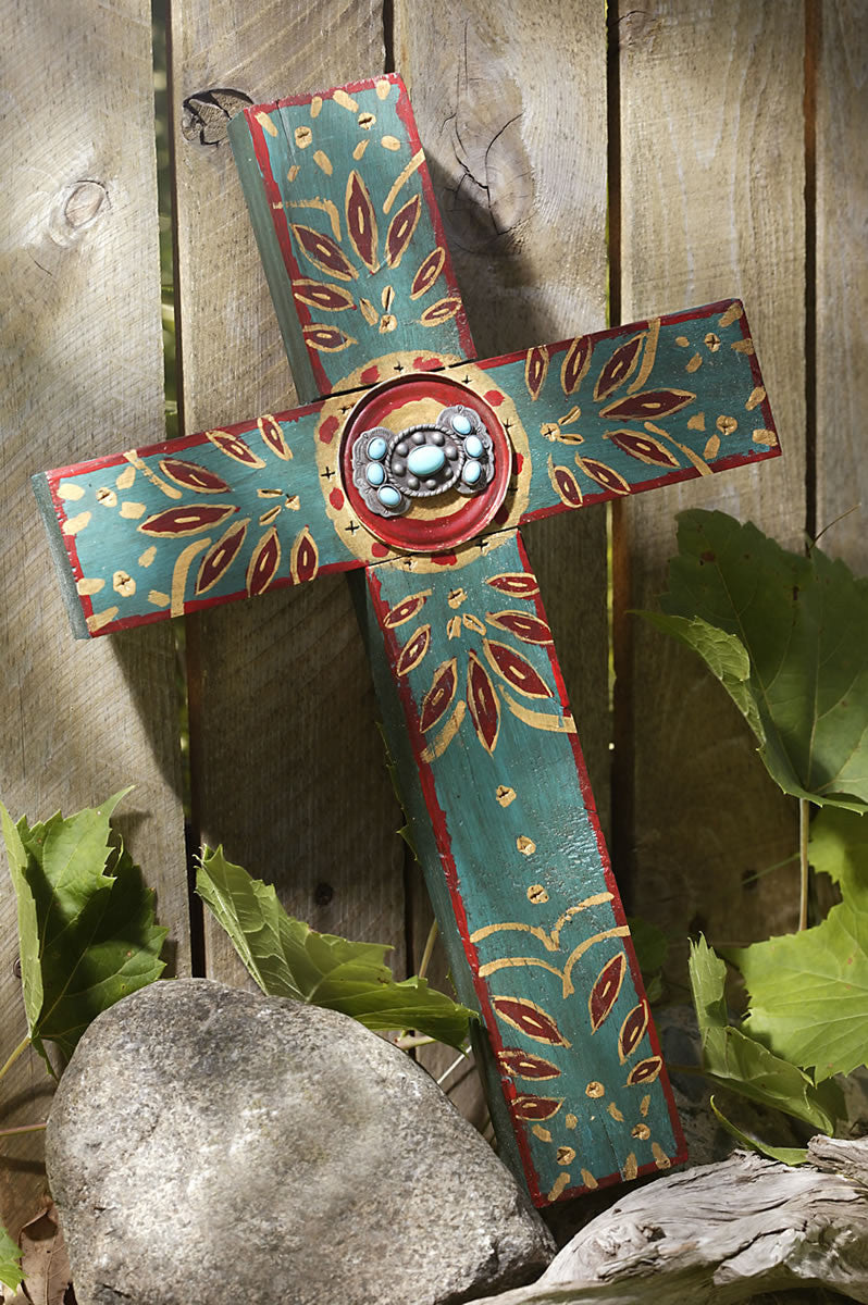Rustic Teal Concho Cross With Turquoise Celebrate Faith