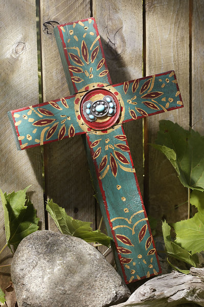 Rustic Teal Concho Cross with Turquoise