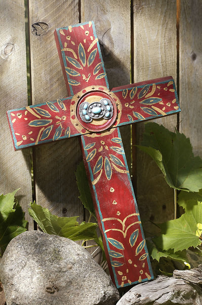 Rustic Red Concho Cross with Turquoise