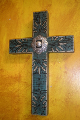 Silver Dreams Concho Wood Cross
