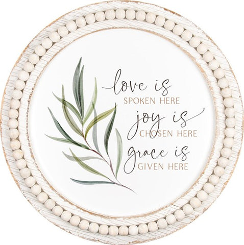 "Beaded Framed Art-Love Is (22.5"" Diameter)"