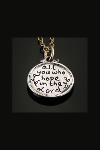 Sterling Silver Psalm 31:24 Scripture Pendant