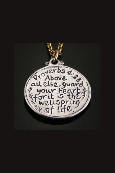 Sterling Silver Proverbs 4:23 Reversible Necklace
