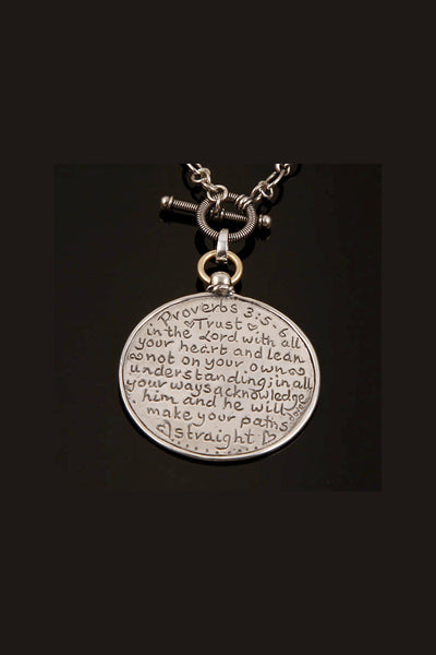 Sterling Silver Proverbs 3:5-6 Reversible Looking Glass Necklace