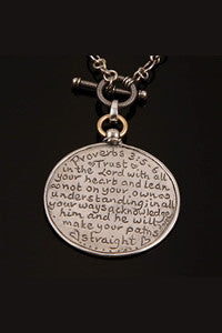 Sterling Silver Proverbs 3:5-6 Reversible Necklace