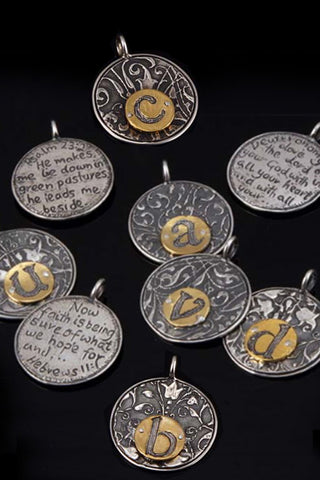 Sterling Silver Alphabet Disc K  through T