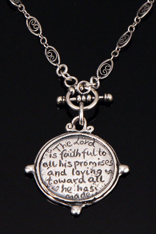 Sterling Silver Reversible Looking Glass Necklace Psalm 145:13