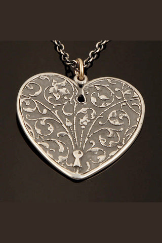 Sterling Silver Psalm 27:1  Floral Vine Heart Reversible Pendant on Chain