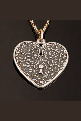Sterling Silver Heart Strength and Shield Necklace Psalms 28:7