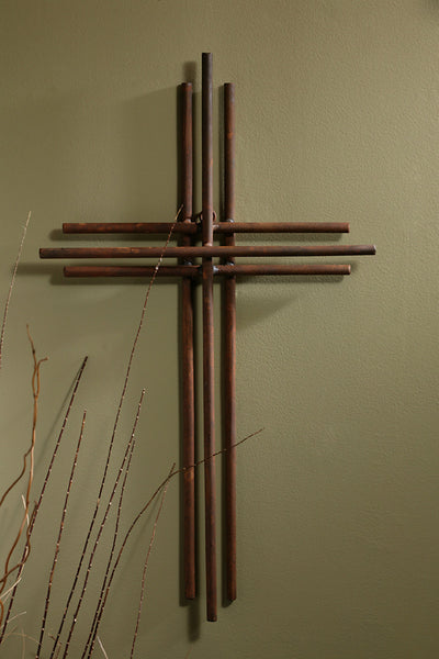 Three Layered Iron Wall Cross 12""