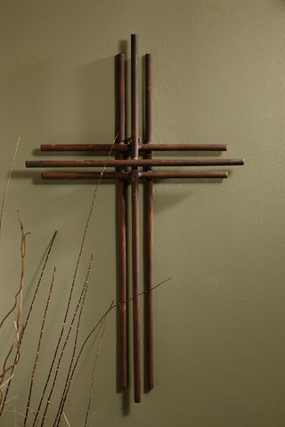 Three Layered Iron Wall Cross - 4'