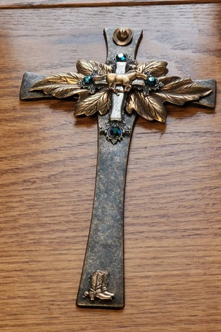 Western Brass Wall Cross