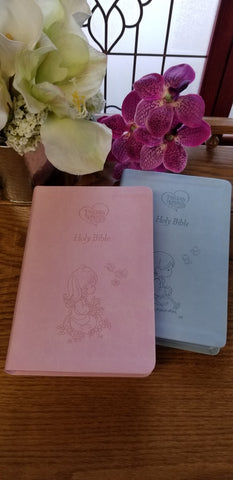 Precious Moments Holy Bible - ICB (Choice of  2 Colors~Pink or Blue)