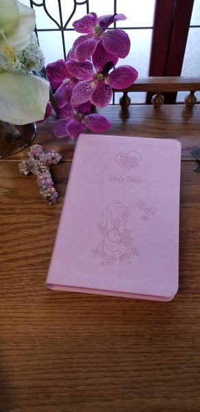 Pink Precious Moments Holy Bible-ICB (Choice of  2 Colors~Pink or Blue)