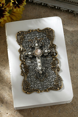 White Jeweled Bible with Swarovski® Crystals, Freshwater pearls KJV