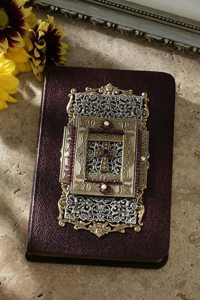 Burgundy Compact Bible with Garnets and Faux Pearls KJV