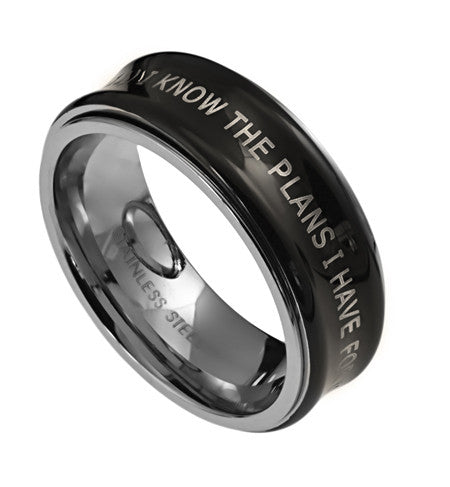 Black Spinner Ring-I Know Jeremiah 29:11