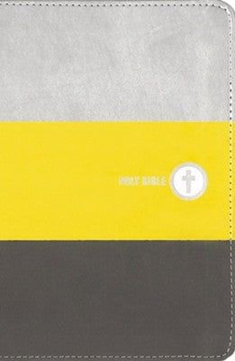 NIV Boys' Backpack Bible (Comfort Print)-Yellow/Charcoal Leathersoft