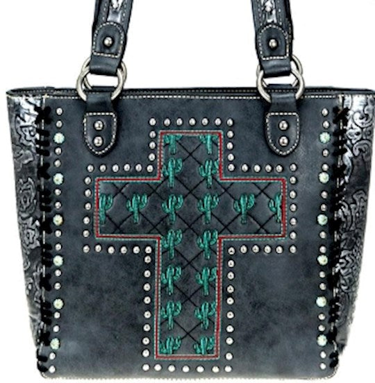 Tote-Cactus Collection w/Cross -Black