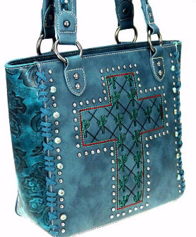 Tote-Cactus Collection w/Cross-Turquoise