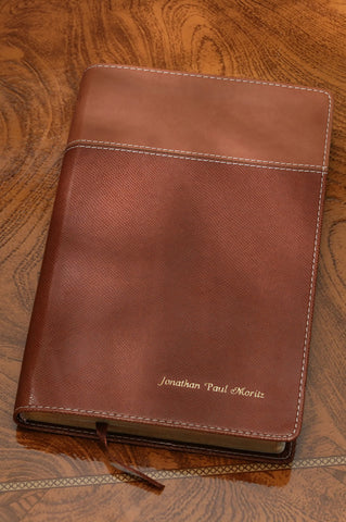 NIV Thinline Bible Italian Duo Tone, Tan-Dark Tan