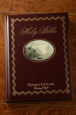 "Thomas Kinkade ""Lighting the Way Home"" Large Print Family Bible-NKJV"