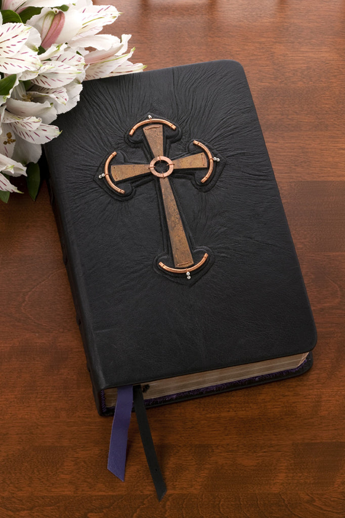 handbound custom engraved leather bible celtic cross bible kjv or