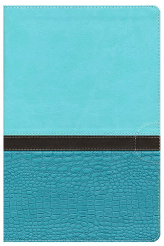 NIV Study Bible Large Print Imitation Leather Turquoise Caribbean Blue - Limited Quantities Available